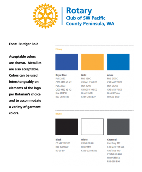 Rotary has specified this color palette for staying in the blue & gold: